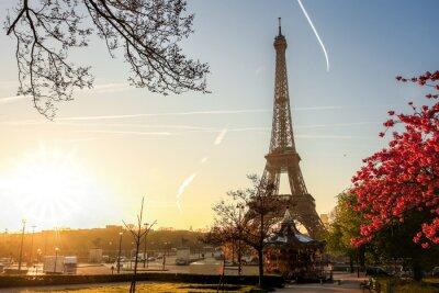 Affisch Eiffeltornet med våren träd i Paris, Frankrike