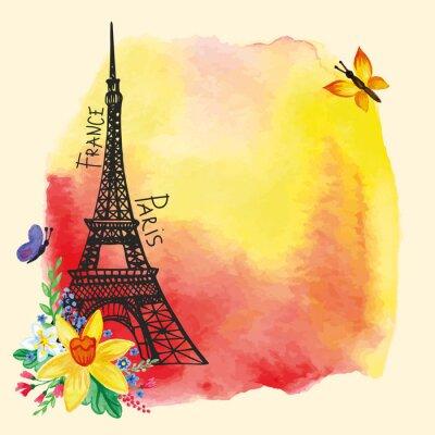 Affisch Eiffeltornet, vattenfärg fläck, Narcissus bouquet.Paris kort