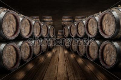 Affisch Ekvinfat i vinkällaren. Gamla stenmur i bakgrunden. Vin bakgrund.