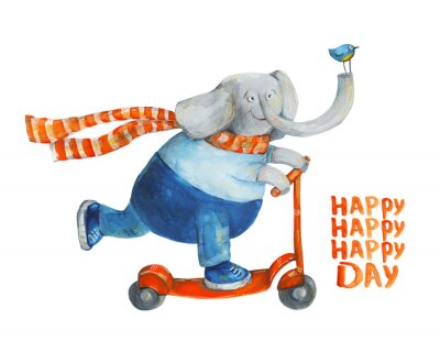 Affisch Elefant på skoter med fågel. Glad dag. Akvarell och gouache Illustration