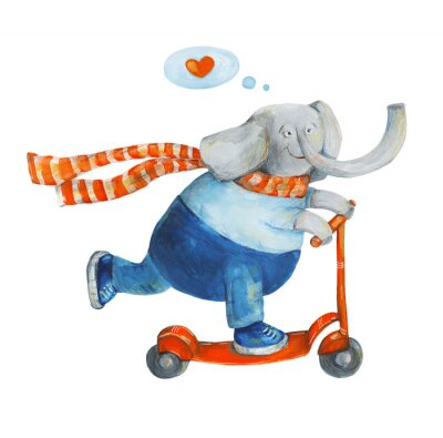 Affisch Elefant på skoter med hjärtat. Kärlek. Akvarell och gouache Illustration