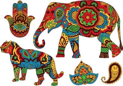Affisch elefant, tiger, Butt och lotusblomma, handmålade i stil med mehendi