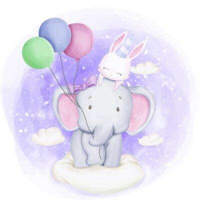 Affisch Elephant and Rabbit Celebrate Birthday