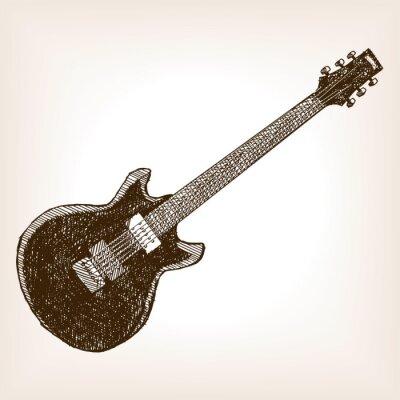 Affisch Elgitarr handritad skiss stil vektor