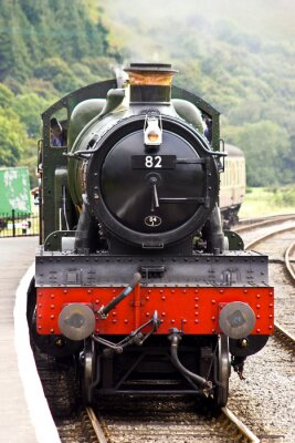 Affisch En ånga tåg anländer till stationen