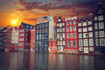 Affisch en av de mest kända europeiska staden Amsterdam. Kapital o