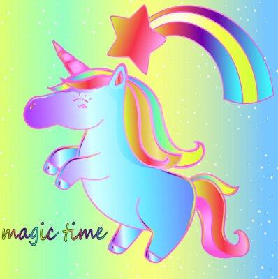 Affisch En enhörning och en regnbåge på en ljus neonbakgrund är en magisk tid. Ljus barns sagaaffisch