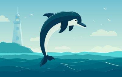 Affisch En hoppande delfin, blått hav bakgrund med vågor och fyr. Vector Illustration