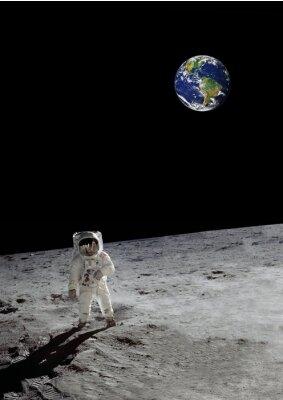 Affisch en lunar promenad under den lysande jorden (vissa delar artighet av NASA)