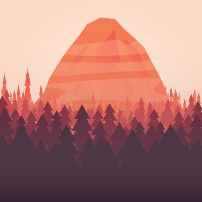 Affisch En skog och berg solnedgång illustrerad bakgrund