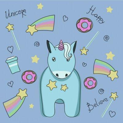 Affisch En uppsättning klistermärken med enhörning, godis och stjärnor.