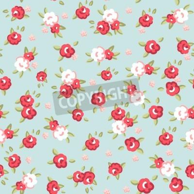 Affisch English Rose, Seamless tapetmönster med rosa rosor på blå bakgrund, vektor illustration