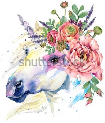 Affisch enhörning. akvarell blomma bukett illustration. fantasi bakgrund. vit häst.