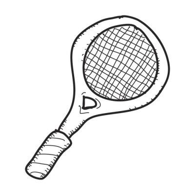 Affisch Enkel klotter av en tennisracket
