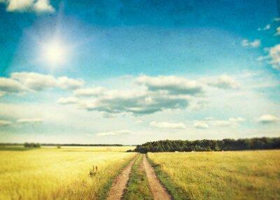 Affisch Ett fält av gyllene vete och blå himmel