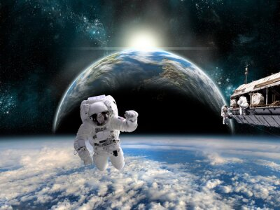 Affisch Ett team av astronauter arbetar på en rymdstation - Delar av bilden som tillhandahålls av NASA.