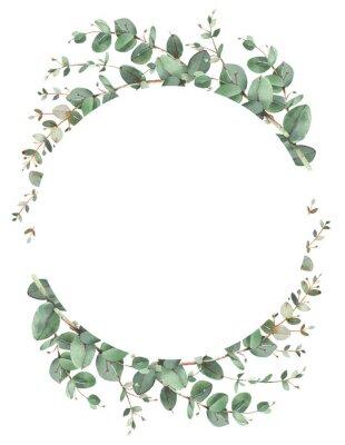 Affisch Eucalyptus circle frame composition