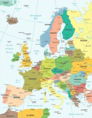 Affisch Europa karta - mycket detaljerade vektorillustration.