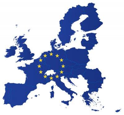 Affisch Europa karta union med flagga