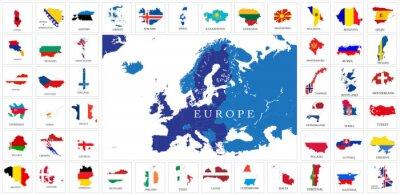 Affisch Europeiska länder flagga kartor