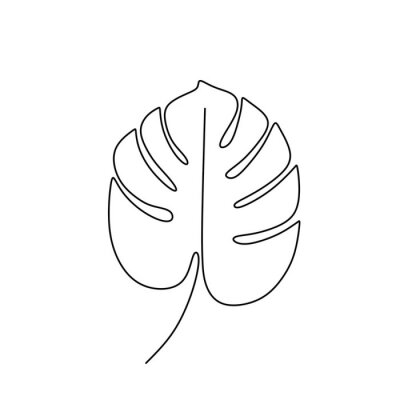 Affisch Exotic monstera continuous one line drawing summer tropical leaf hand drawn on white background minimalist design