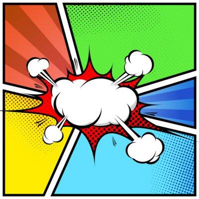 Affisch Explosion moln abstrakt serietidning stil ram sidmall