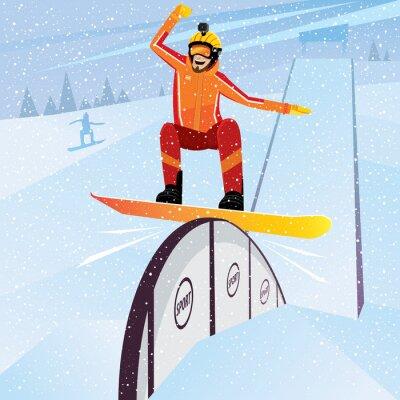 Affisch Extreme idrottsman flyttas ner från berget på en snowboard