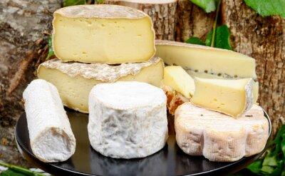Affisch fack med olika franska ostar