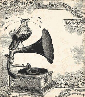 Affisch Fågeln musik