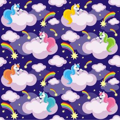 Affisch Fairy barn sömlösa mönster med bilden av söta enhörningar. Färgrik vektor bakgrund