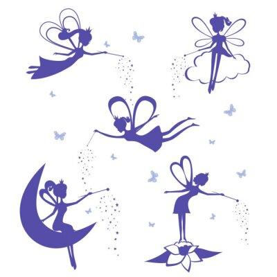 Affisch Fairy silhuett vektor uppsättning.