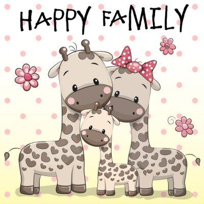 Affisch Familj av tre Giraffer