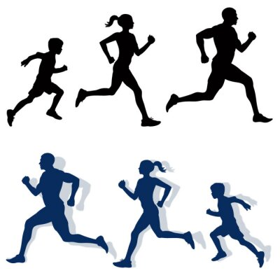 Affisch familj jogging silhuetter