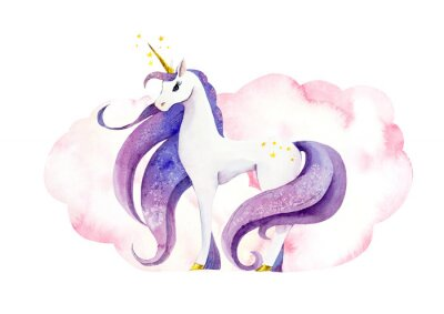 Affisch Fantastic animal - unicorn in pink clouds/ Watercolor hand drawn illustration
