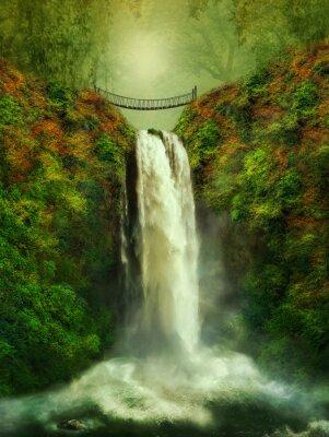 Affisch fantastiska vattenfall och bro