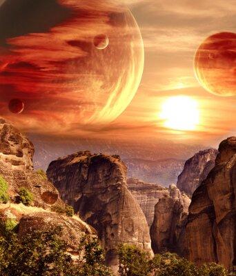 Affisch Fantastiskt landskap med planet, berg, solnedgång