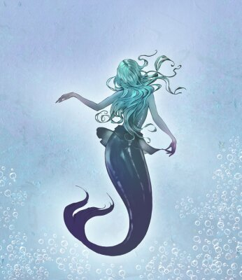 Affisch Fantasy original raster illustration of a cute and beautiful anime mermaid with long blue curly  hair with her back to the viewer