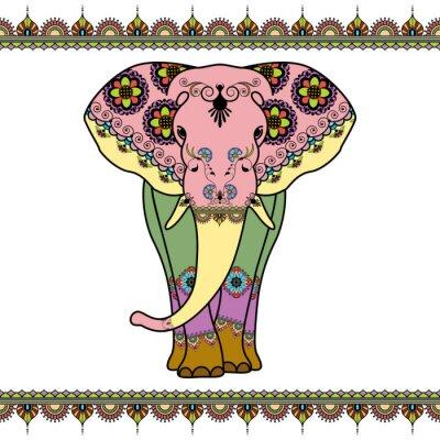 Affisch Färg elefant med gränselement i etnisk mehndi stil. Vector svart och vitt illustration isolerad på vit bakgrund