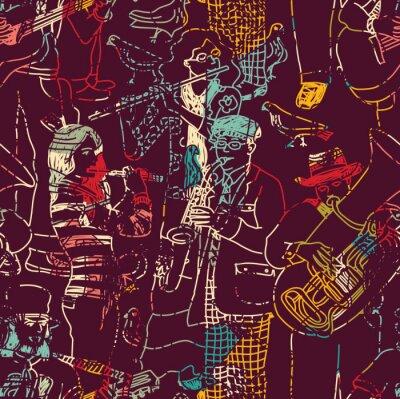 Affisch Färg musik jazzband seamless.