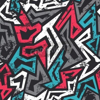 Affisch färgad graffiti seamless med grunge effekt