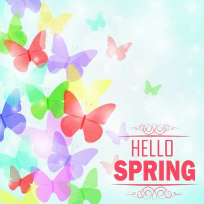 Affisch Färgglada fjärilar bakgrund med text Hej Spring