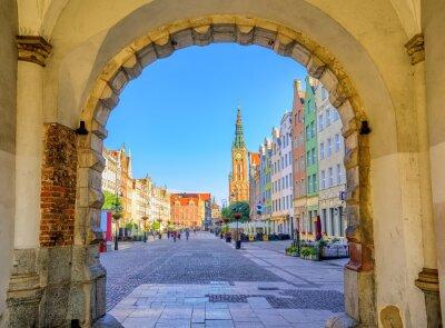 Affisch Färgglada gotiska fasader int den gamla staden Gdansk, Polen