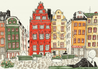 Affisch Färgglada handritad illustration av stockholmshus, gatukarta av europeisk stad. Bläck och markörer.