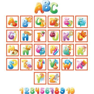 Affisch Färgrik alfabet för barn med bilder