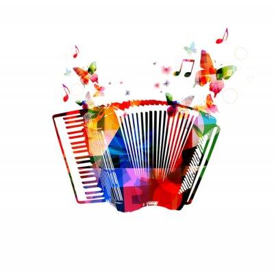 Affisch Färgrik dragspel. Musikinstrument bakgrund med fjärilar