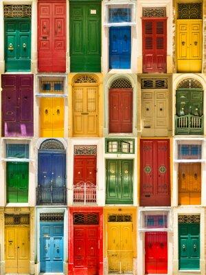 Affisch färgrik främre dörrarna till hus
