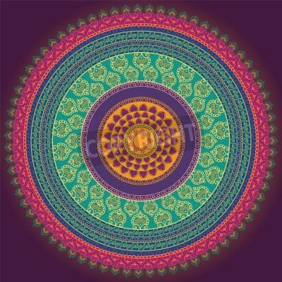 Affisch Färgrik Henna Mandala design, mycket genomarbetade och lätt att redigera