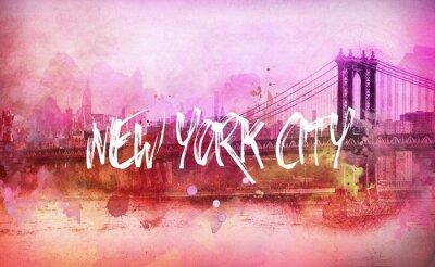 Affisch Färgrik konstnärlig rosa New York panorama