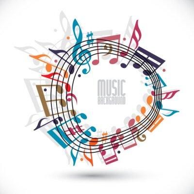 Affisch Färgrik musik bakgrund med klav och anteckningar, musik ark i ro