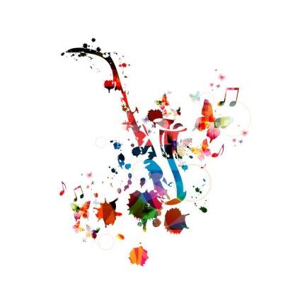 Affisch Färgrik musik bakgrund med saxofon
